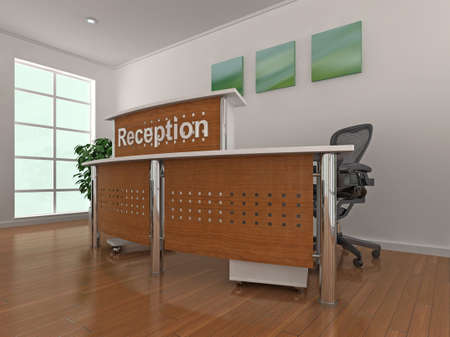 High quality 3d illustration of a reception area. illustration