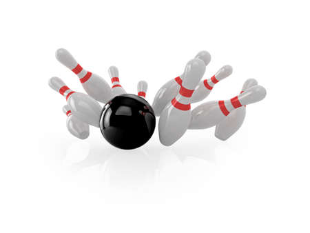 ten pin bowling: High quality, realistic illustration of a bowling ball hitting pins.