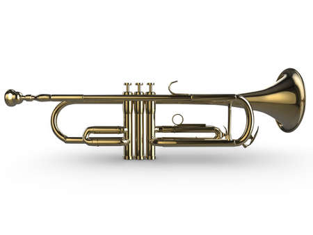 fanfare: Realistic illustration of a shiny trumpet, isolated on a white background