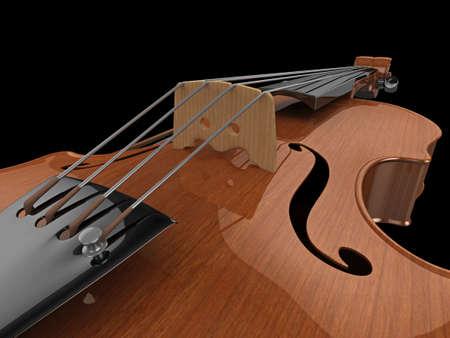 concerto: Alta calidad, ilustraci�n realista de primer plano de un viol�n pulido