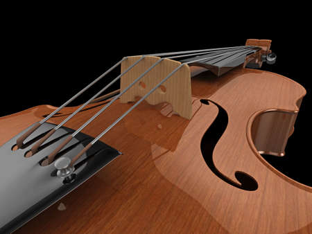 concerto: High quality, realistic close-up illustration of a polished violin