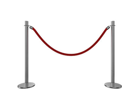 High quality 3d illustration of a VIP area rope barrier, isolated on a white background. illustration