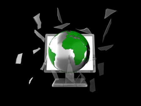smashing: 3d illustration of a globe smashing through a computer or tv screen.