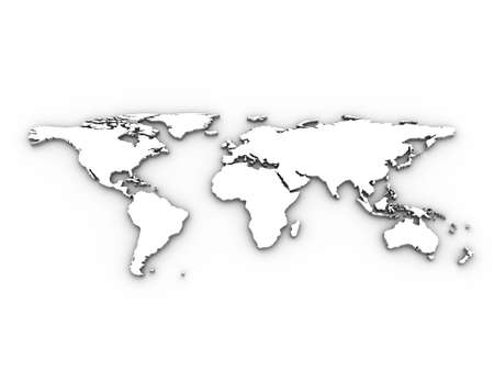atlas: White 3d world map illustration. Tip: Try setting layer mode to multiply and using as an effective overlay in your design.