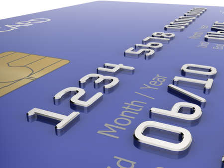 Realistic close-up illustration of a blue credit card with fictional details. Stock Illustration - 5578488