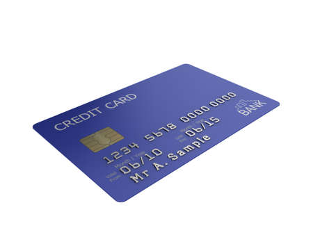 Realistic illustration of a blue credit card with fictional details, isolated on a white background. illustration