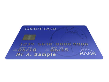 Realistic illustration of a blue credit card with fictional details, isolated on a white background. Stock Illustration - 5578427