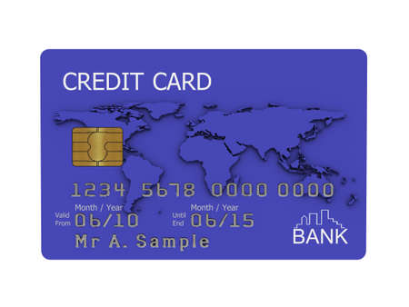 Realistic illustration of a blue credit card with fictional details, isolated on a white background. Stock Illustration - 5578466