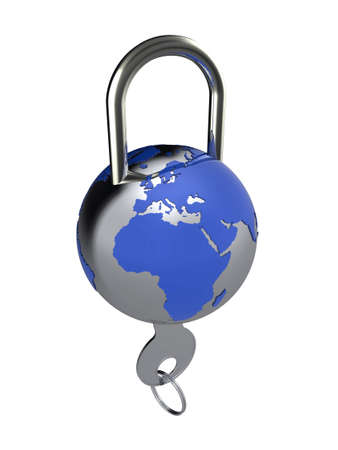 3d illustration of a globe lock, to represent internet, or global security illustration