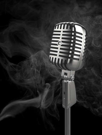 High quality illustration of a retro microphone in a smokey club-like atmosphere. Please see my portfolio for alternative views. illustration