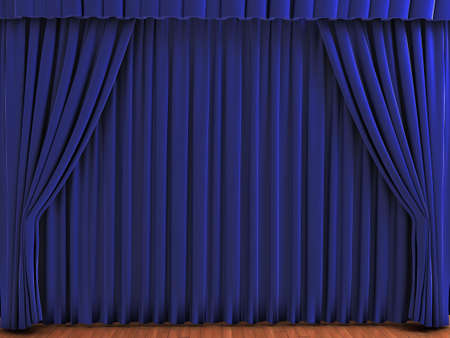 Blue theater curtains. Realistic illustration of velvet curtains. See my portfolio for alternative colors. Stock Photo
