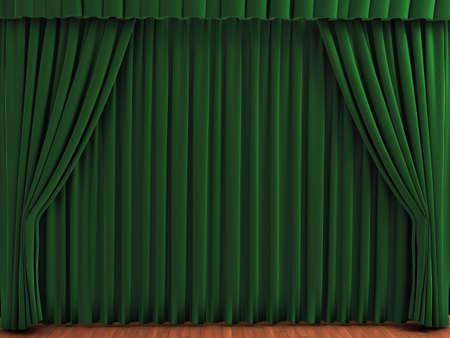 Cortinas de teatro verde. Ilustración realista de cortinas de terciopelo. Ver mi portfolio para colores alternativos. Foto de archivo