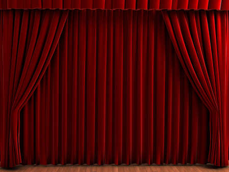 Red theater curtains. Realistic illustration of velvet curtains. See my portfolio for alternative colors. Stock Photo