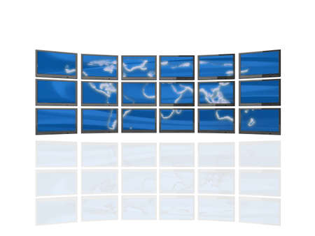 High quality illustration of a 'wall of screens' showing a three dimensional map of the world. Stock Illustration - 5578498
