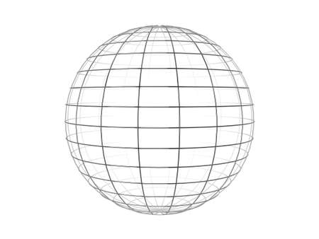 meridian: Illustration of a metallic wire frame sphere, isolated on a white background.