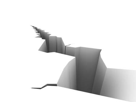 please: Illustration of a large crack on a white surface. Please see my portfolio for more in the series.