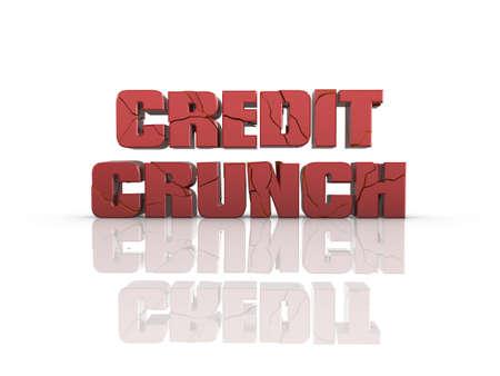 stock predictions: Crackizzati Credit Crunch testo 3d, su superficie riflettente. Vedere il mio portafoglio per visualizzazione alternativa.