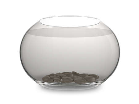 gold fish bowl: Realistic illustration of an empty goldfish bowl, isolated on a white background Stock Photo