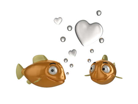 tank fish: Close up of goldfish in love illustration. Two fish blowing heart shaped bubbles. See my portfolio for alternative views.