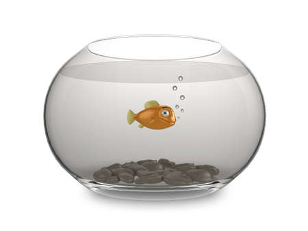 3d illustration of a shiny cartoon goldfish swimming in a round bowl illustration