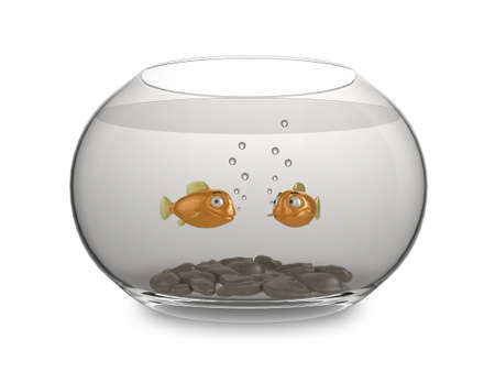 Illustration of a pair of cartoon goldfish swimming in a bowl illustration