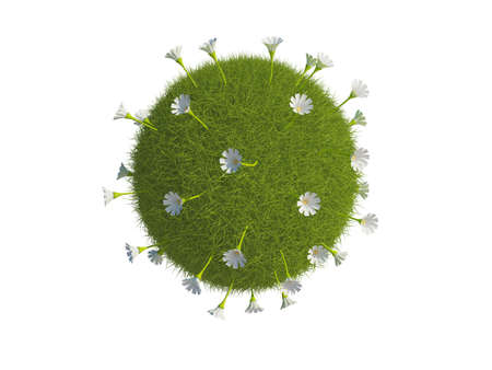 Illustration of a sphere or globe covered in grass and flowers, isolated on a white background. Stock Illustration - 5664592