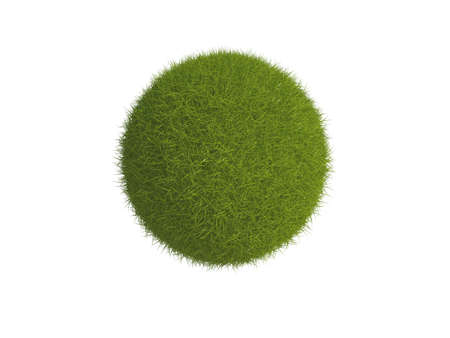 Illustration of a sphere or globe covered in grass, isolated on a white background. Stock Illustration - 5664614