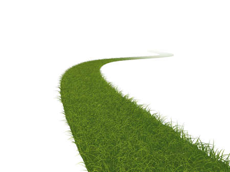 Illustration of a grass path leading into the distance illustration