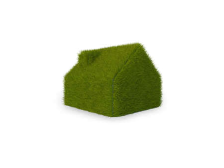 Illustration of a simple house, covered in grass. Isolated on white. illustration