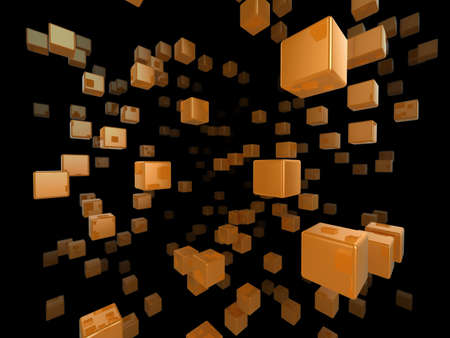 High quality illustration of a network of glossy orange cubes reaching far into the distance Stock Illustration - 5664603