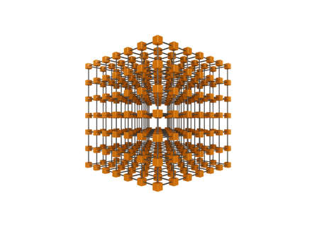 High quality illustration of a network of glossy orange cubes, connected by a wire frame Stock Illustration - 5664606