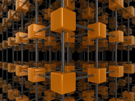 High quality illustration of a network of glossy orange cubes, connected by a wire frame Stock Illustration - 5664609