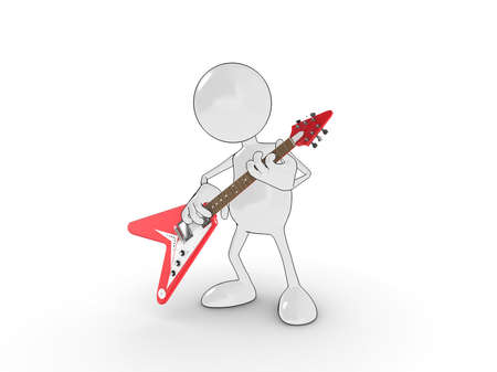 rock guitarist: 3d cartoon character playing an electric guitar. Please see my portfolio for more in the series. Stock Photo