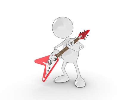 estrella caricatura: personaje de dibujos animados 3D, tocando una guitarra eléctrica. Por favor vea mi cartera para obtener más información en la serie.