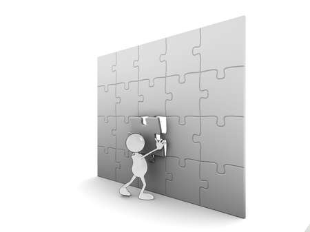 Illustration of a 3d cartoon character completing a puzzle. Please see my portfolio for more in the series. illustration