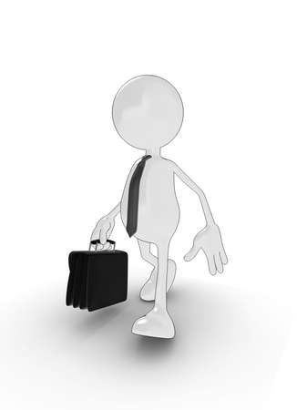 3d cartoon character with briefcase. Please see my portfolio for more in the series. Stock Photo - 5680919