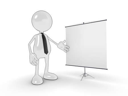 Cartoon business man with blank presentation chart for your own design. Please see my portfolio for more in the series. Stock Photo