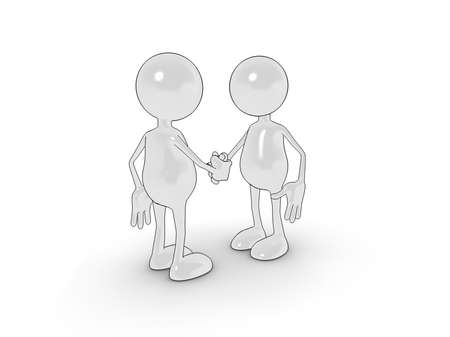 Illustration of two 3d characters shaking hands. Please see my portfolio for more in the series. illustration