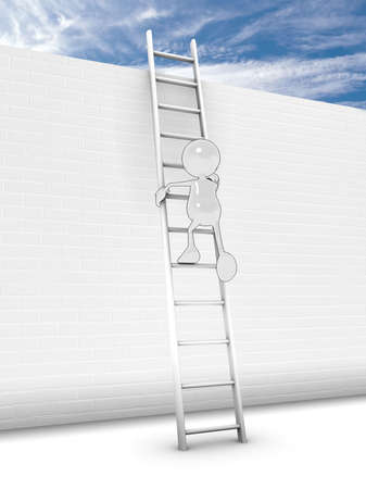 climbing stairs: 3d cartoon character climbing a ladder up a tall brick wall. Please see my portfolio fo rmore in the series.