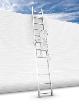 personaje de dibujos animados 3D, subiendo una escalera hasta una pared de ladrillos de altura. Por favor vea mi cartera fo rmore en la serie.  Foto de archivo - 5680940