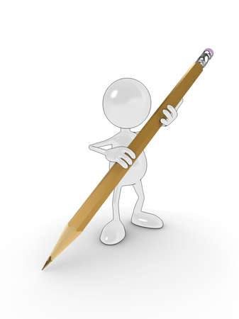 3d cartoon character holding a large pencil, writing on a white surface. Please see my portfolio for more in the series. Stock Photo - 5680946