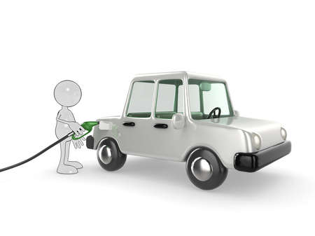 3d cartoon character filling his car up. Please see my portfolio for more in the series. photo