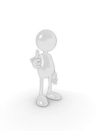 Shiny 3d cartoon character in 'thumbs up' approval pose. Please see my portfolio for more in the series. Stock Photo - 5680914