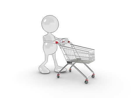 Illustration of a 3d cartoon character pushing a shopping trolley (cart). Please see my portfolio for more in the series. illustration