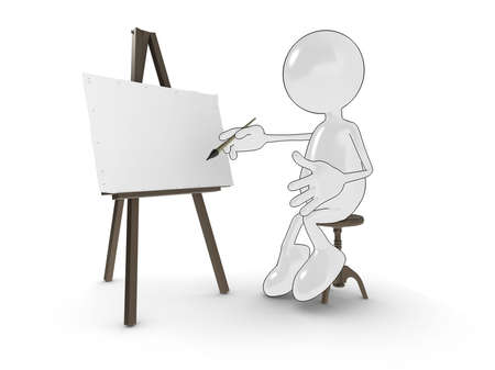 Shiny cartoon character painting at an easel. Please see my portfolio for more in the series. photo