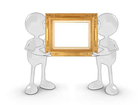 Two 3d characters holding a blank gold frame for your own design or text. Please see my portfolio for more in the series. photo