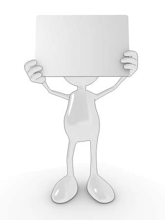 Cartoon character holding up blank sign for your own design. Please see my portfolio for more in the series. photo