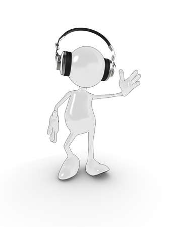 3d cartoon character with headphones dancing to music. Please see my portfolio for more in the series. photo