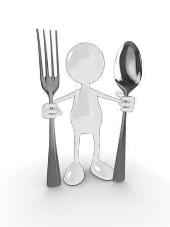 3d cartoon character with spoon and fork. Please see my portfolio for more in the series. Stock Photo
