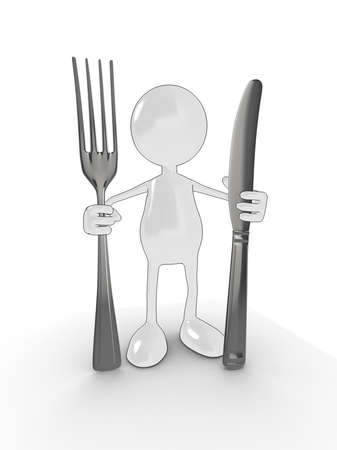 3d cartoon character with knife and fork. Please see my portfolio for more in the series. photo